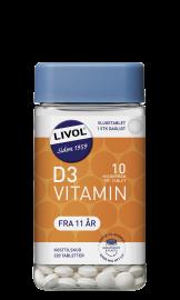 Livol D-vitamin 10µg tyggetablet 150stk.